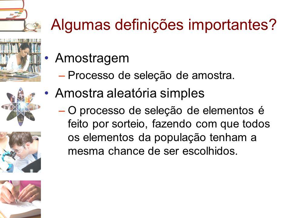 Algumas definições importantes? •Amostragem –Processo de seleção de amostra. •Amostra aleatória simples –O processo de seleção de elementos é feito po
