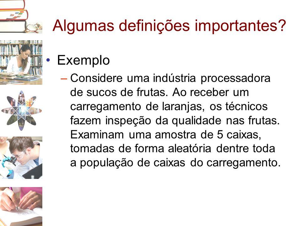 Algumas definições importantes? •Exemplo –Considere uma indústria processadora de sucos de frutas. Ao receber um carregamento de laranjas, os técnicos
