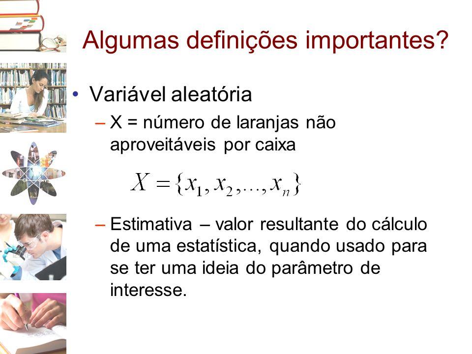 Algumas definições importantes? •Variável aleatória –X = número de laranjas não aproveitáveis por caixa –Estimativa – valor resultante do cálculo de u