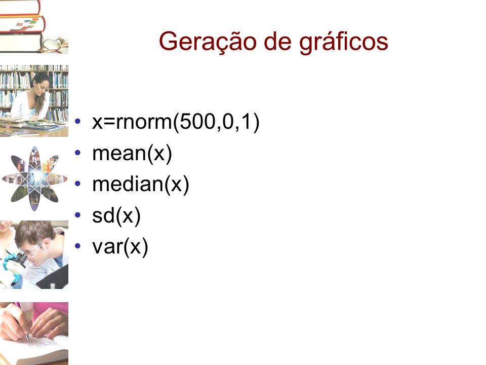 Geração de gráficos •x=rnorm(500,0,1) •mean(x) •median(x) •sd(x) •var(x)