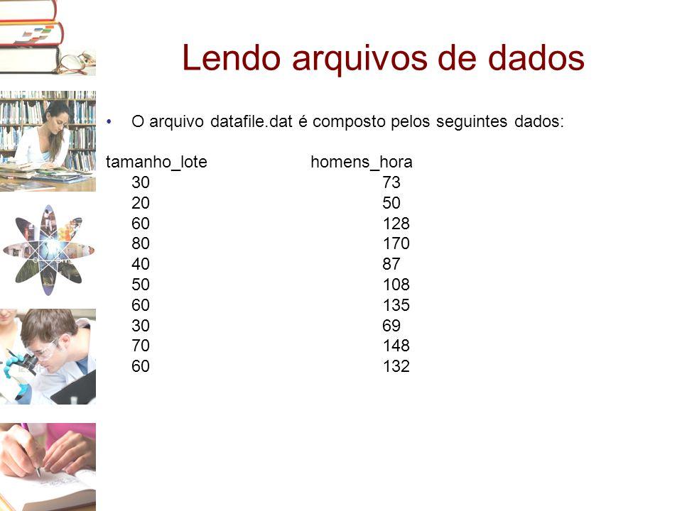 Lendo arquivos de dados •O arquivo datafile.dat é composto pelos seguintes dados: tamanho_lote homens_hora 30 73 20 50 60 128 80 170 40 87 50 108 60 1