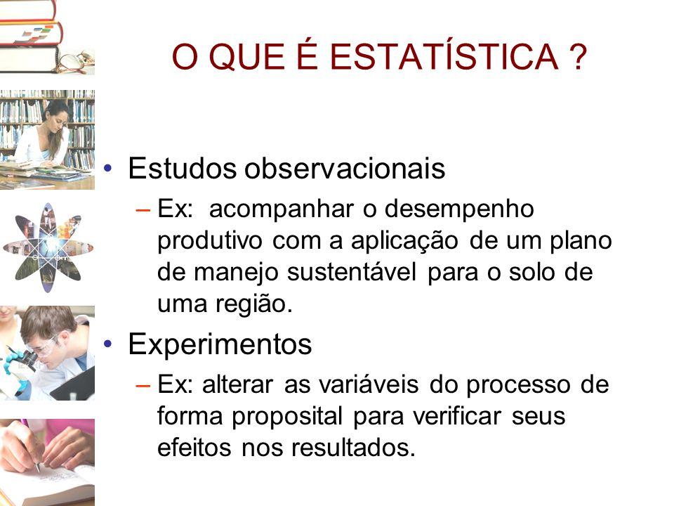 O QUE É ESTATÍSTICA ? •Estudos observacionais –Ex: acompanhar o desempenho produtivo com a aplicação de um plano de manejo sustentável para o solo de
