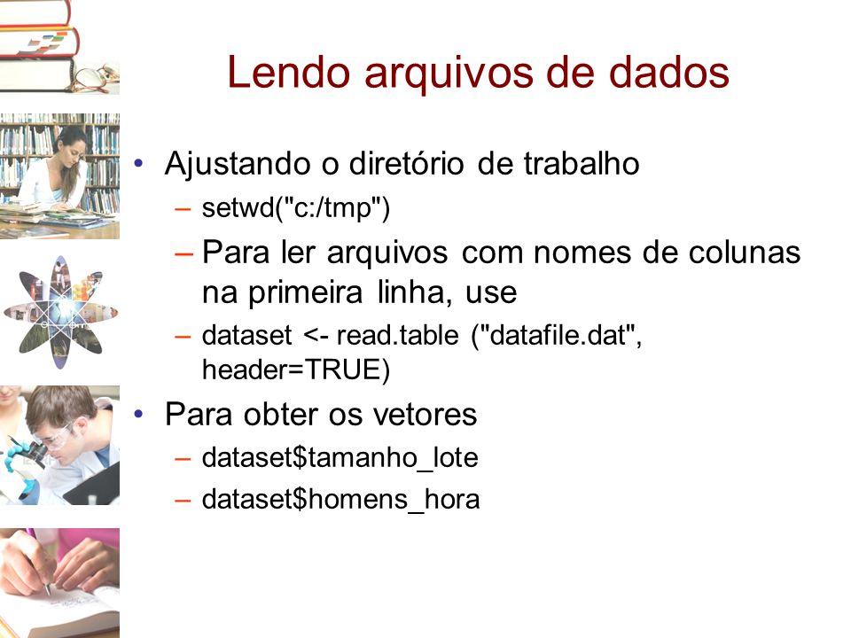 Lendo arquivos de dados •Ajustando o diretório de trabalho –setwd(
