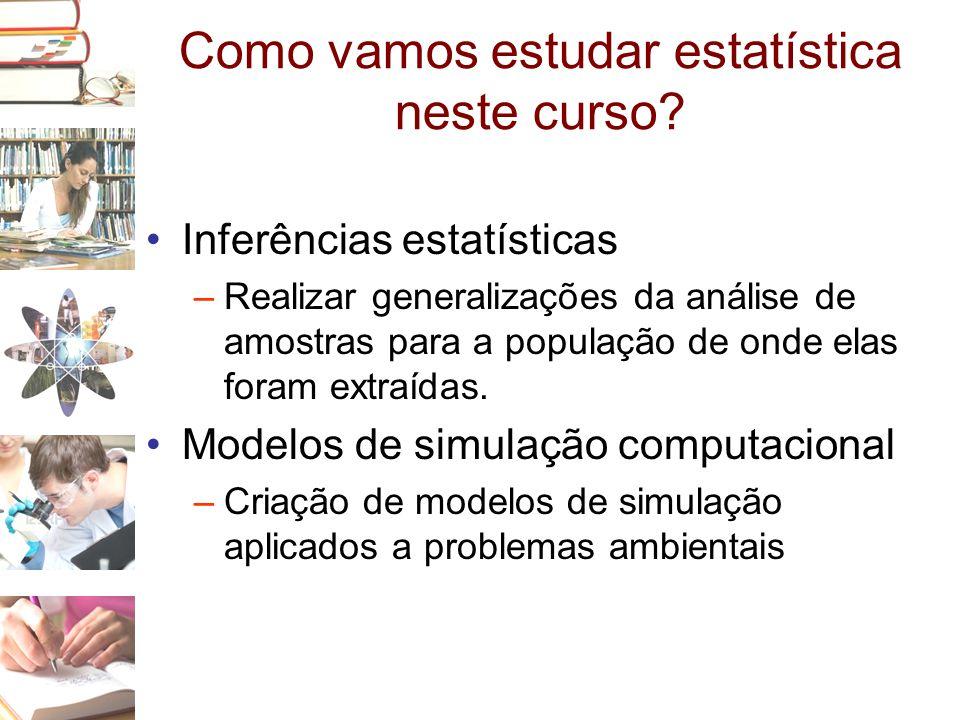 Como vamos estudar estatística neste curso? •Inferências estatísticas –Realizar generalizações da análise de amostras para a população de onde elas fo