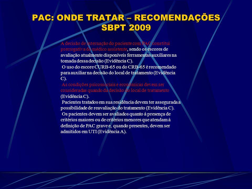 PAC: ONDE TRATAR – RECOMENDAÇÕES SBPT 2009 A decisão de internação do paciente com PAC constitui prerrogativa do médico assistente, sendo os escores d
