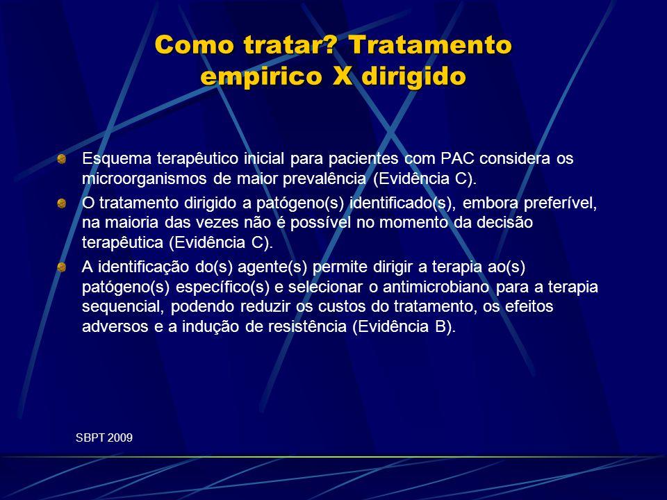 Como tratar? Tratamento empirico X dirigido Esquema terapêutico inicial para pacientes com PAC considera os microorganismos de maior prevalência (Evid