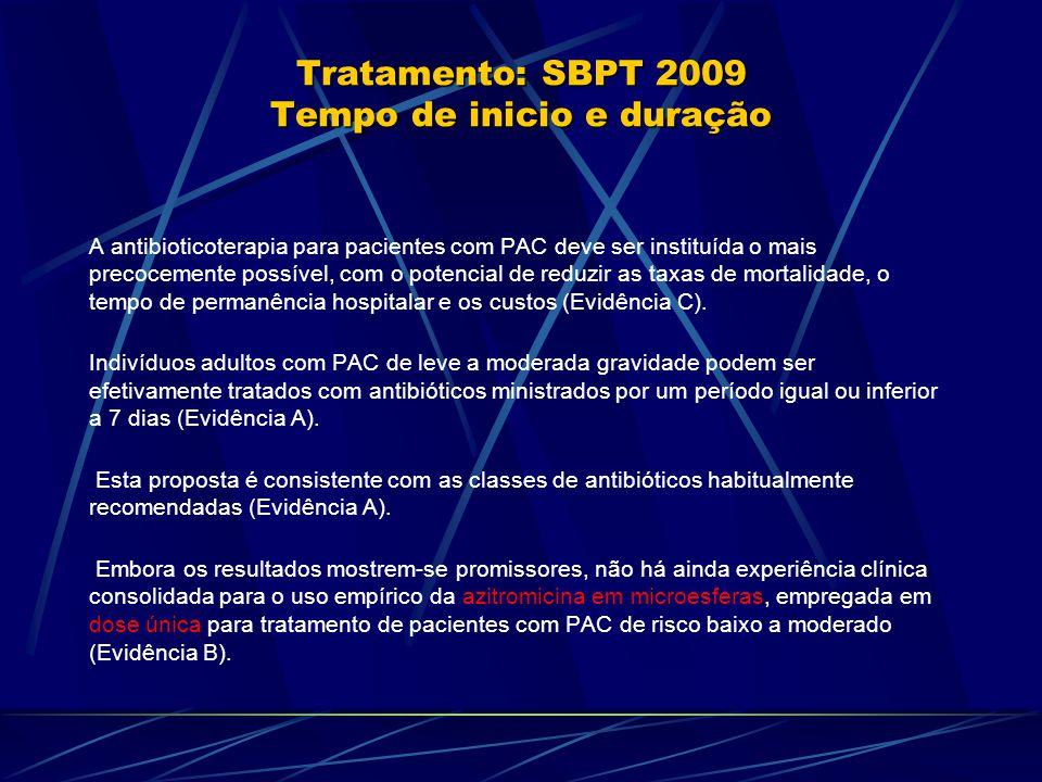 Tratamento: SBPT 2009 Tempo de inicio e duração A antibioticoterapia para pacientes com PAC deve ser instituída o mais precocemente possível, com o potencial de reduzir as taxas de mortalidade, o tempo de permanência hospitalar e os custos (Evidência C).