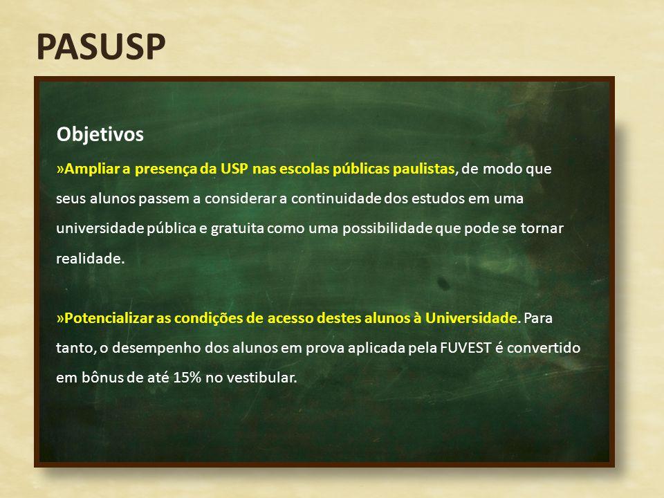 PASUSP Objetivos »Ampliar a presença da USP nas escolas públicas paulistas, de modo que seus alunos passem a considerar a continuidade dos estudos em