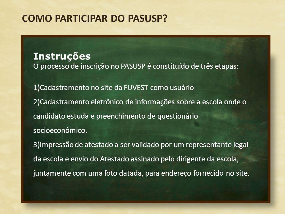 Instruções O processo de inscrição no PASUSP é constituído de três etapas: 1)Cadastramento no site da FUVEST como usuário 2)Cadastramento eletrônico d