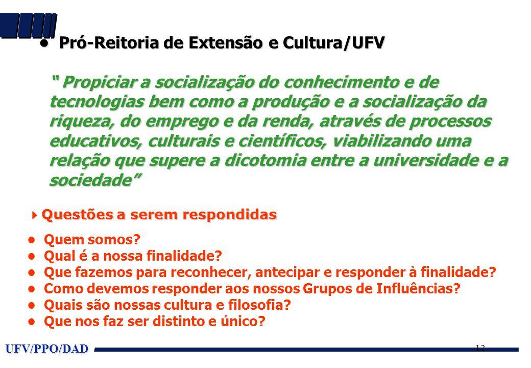 """UFV/PPO/DAD 12 • Pró-Reitoria de Extensão e Cultura/UFV """" Propiciar a socialização do conhecimento e de tecnologias bem como a produção e a socializaç"""