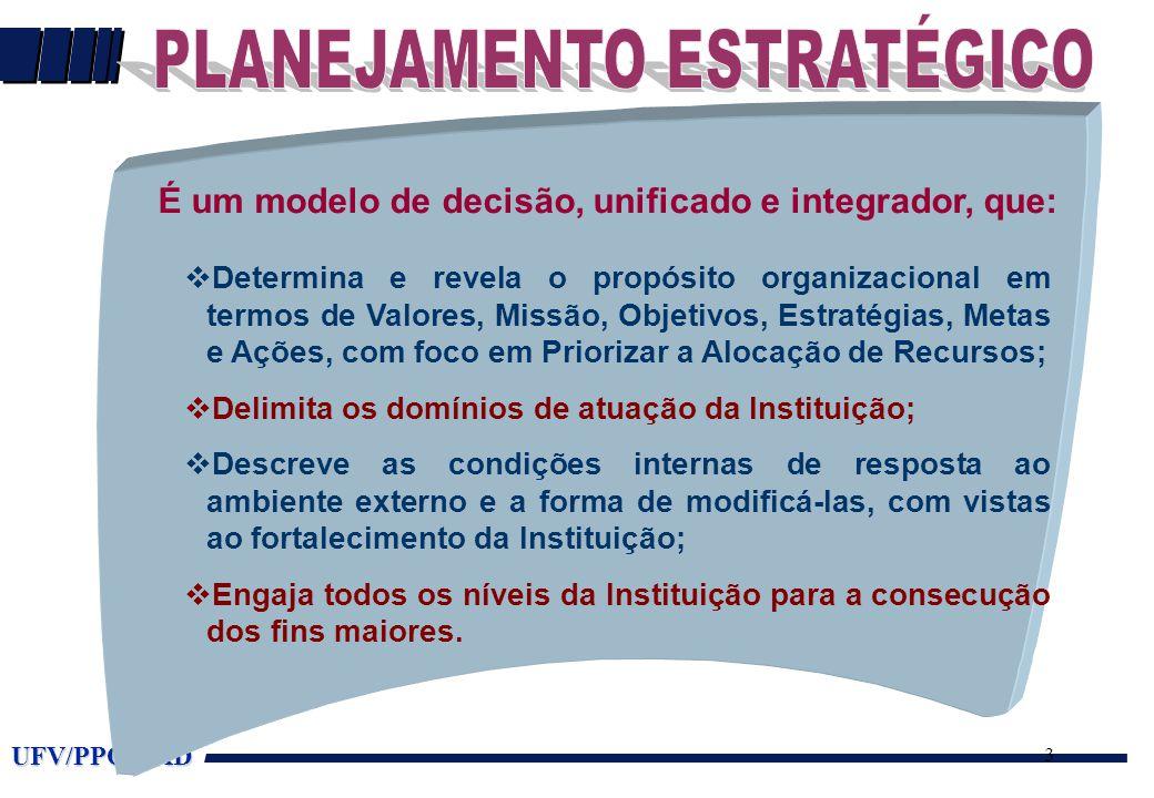 UFV/PPO/DAD 3 É um modelo de decisão, unificado e integrador, que: vDetermina e revela o propósito organizacional em termos de Valores, Missão, Objetivos, Estratégias, Metas e Ações, com foco em Priorizar a Alocação de Recursos; vDelimita os domínios de atuação da Instituição; vDescreve as condições internas de resposta ao ambiente externo e a forma de modificá-las, com vistas ao fortalecimento da Instituição; vEngaja todos os níveis da Instituição para a consecução dos fins maiores.
