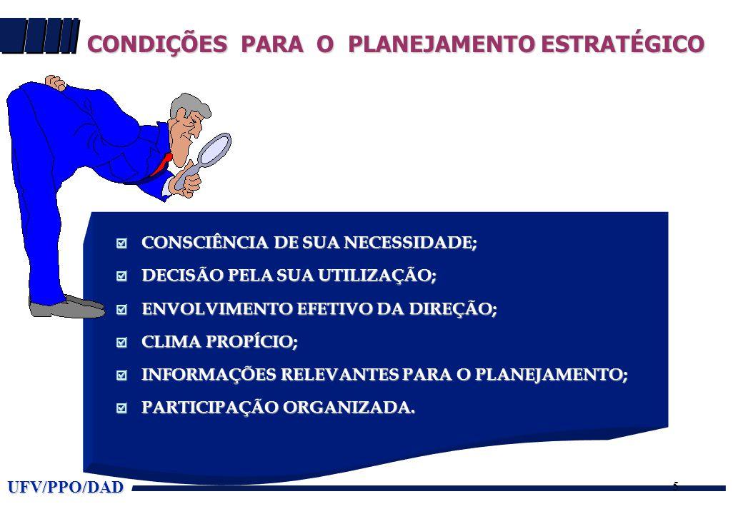 UFV/PPO/DAD 5  CONSCIÊNCIA DE SUA NECESSIDADE;  DECISÃO PELA SUA UTILIZAÇÃO;  ENVOLVIMENTO EFETIVO DA DIREÇÃO;  CLIMA PROPÍCIO;  INFORMAÇÕES RELE