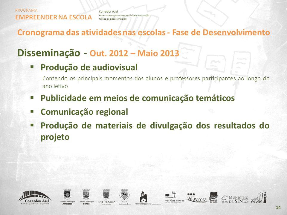PROGRAMA EMPREENDER NA ESCOLA Corredor Azul Redes Urbanas para a Competitividade e Inovação Política de Cidades Pólis XXI 14 Disseminação - Out. 2012