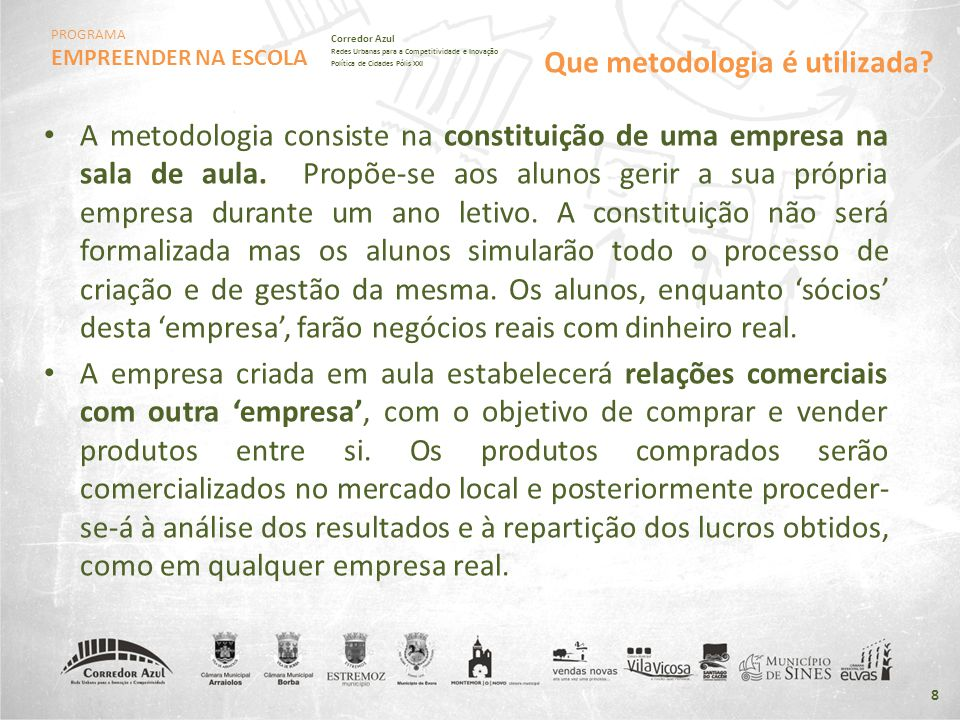 PROGRAMA EMPREENDER NA ESCOLA Corredor Azul Redes Urbanas para a Competitividade e Inovação Política de Cidades Pólis XXI • A metodologia consiste na
