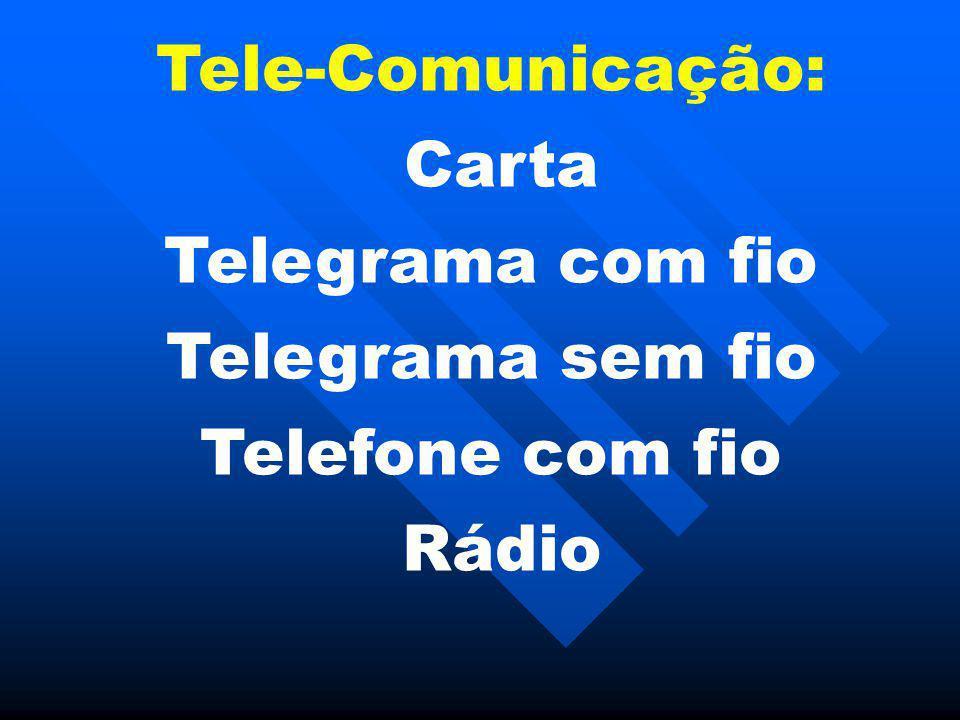 Tele-Comunicação: Carta Telegrama com fio Telegrama sem fio Telefone com fio Rádio