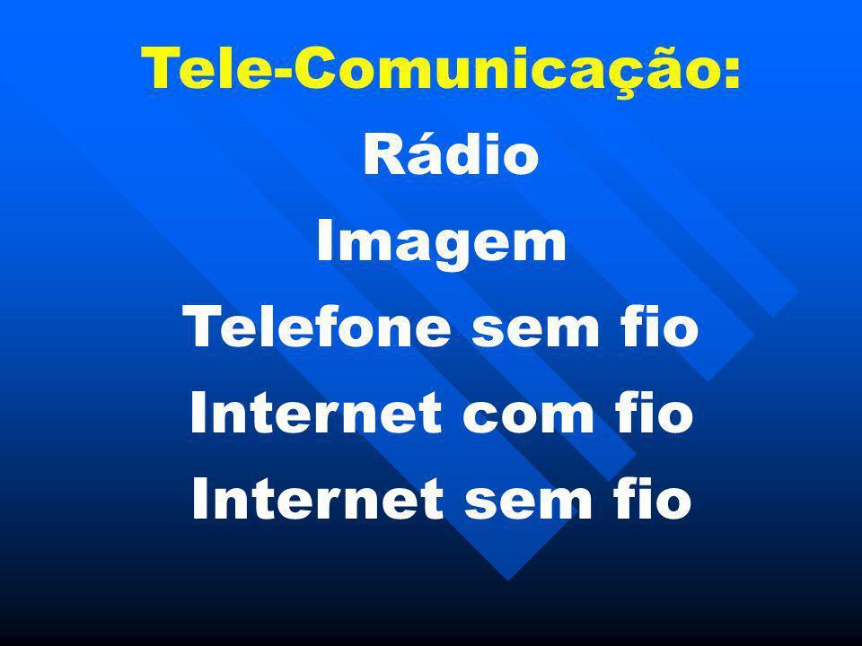 Tele-Comunicação: Rádio Imagem Telefone sem fio Internet com fio Internet sem fio