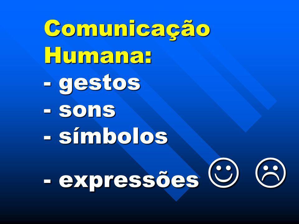 Comunicação Humana: - gestos - sons - símbolos - expressões   Comunicação Humana: - gestos - sons - símbolos - expressões  