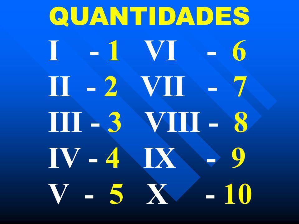 QUANTIDADES I - 1 VI - 6 II - 2 VII - 7 III - 3 VIII - 8 IV - 4 IX - 9 V - 5 X - 10