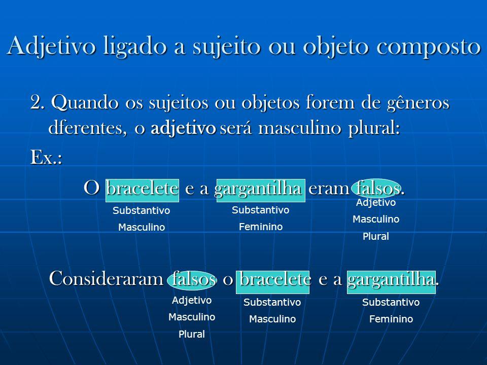 Adjetivo Masculino Plural Substantivo Masculino Adjetivo ligado a sujeito ou objeto composto Substantivo Feminino Substantivo Masculino Substantivo Fe
