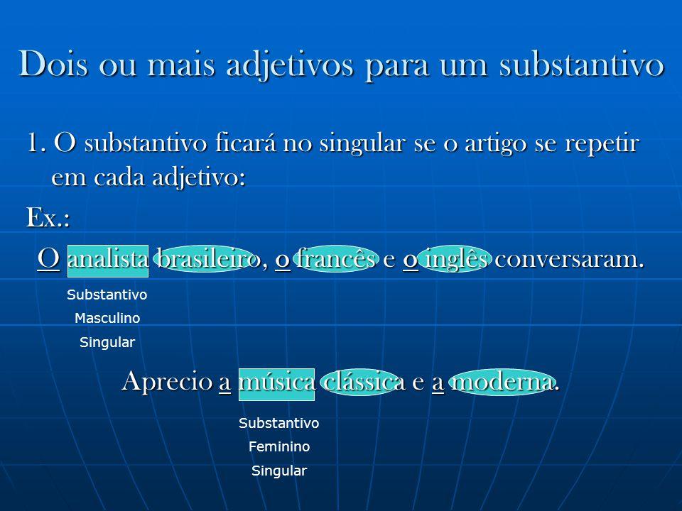 Substantivo Masculino Singular Dois ou mais adjetivos para um substantivo Substantivo Feminino Singular 1. O substantivo ficará no singular se o artig