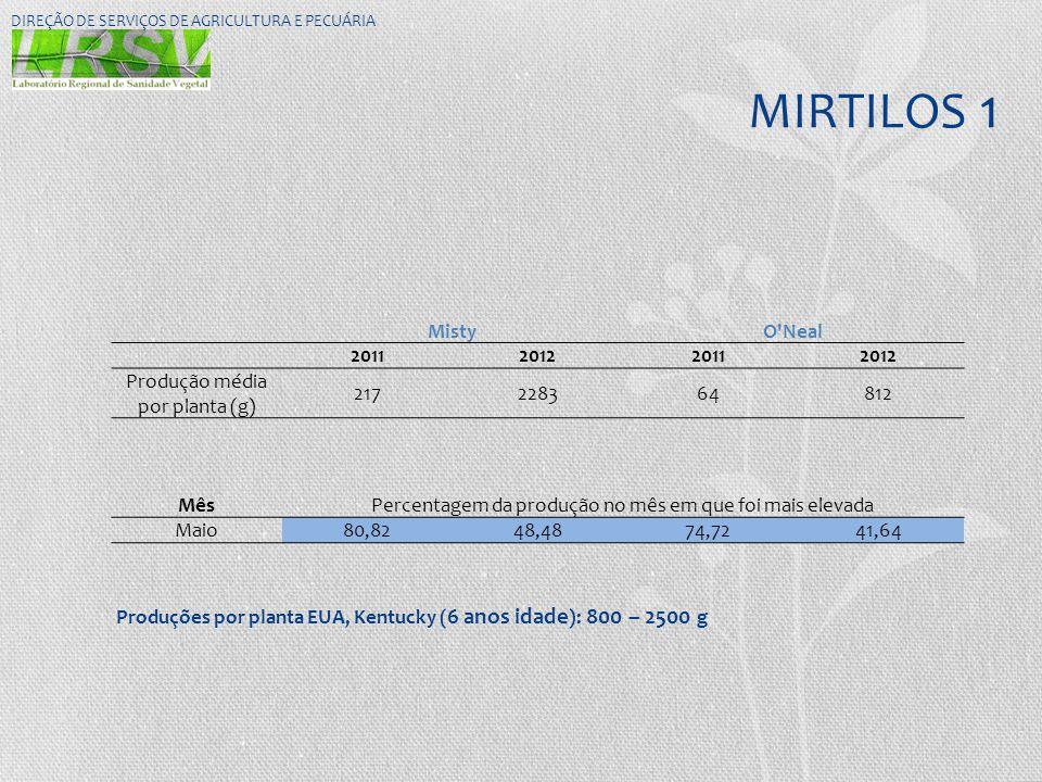 MIRTILOS 1 DIREÇÃO DE SERVIÇOS DE AGRICULTURA E PECUÁRIA MistyO'Neal 2011201220112012 Produção média por planta (g) 217228364812 MêsPercentagem da pro