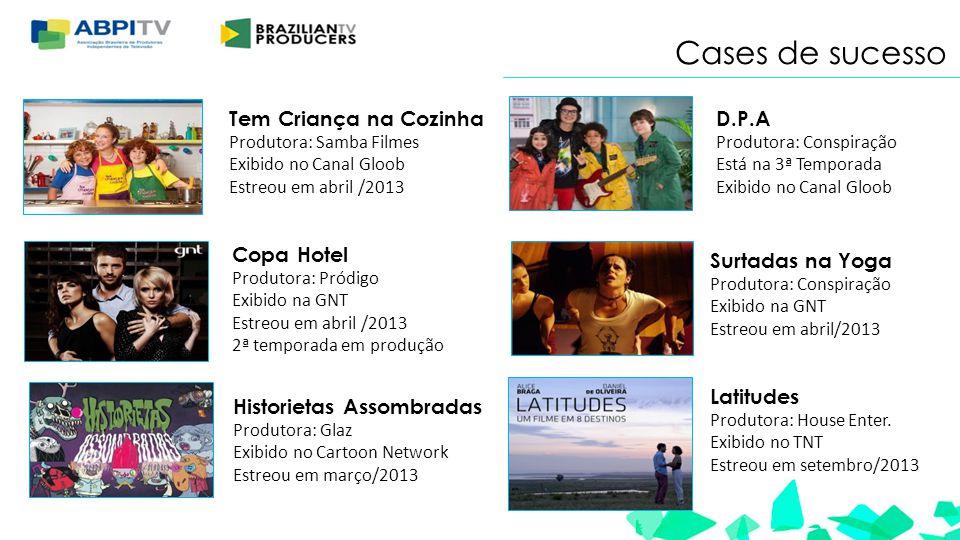 Tem Criança na Cozinha Produtora: Samba Filmes Exibido no Canal Gloob Estreou em abril /2013 Copa Hotel Produtora: Pródigo Exibido na GNT Estreou em a
