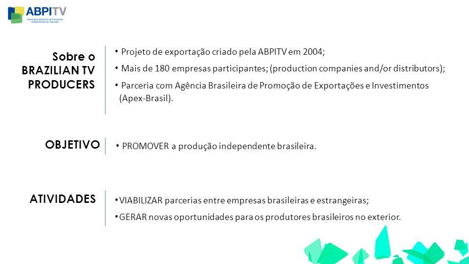 Sobre o BRAZILIAN TV PRODUCERS • Projeto de exportação criado pela ABPITV em 2004; • Mais de 180 empresas participantes; (production companies and/or distributors); • Parceria com Agência Brasileira de Promoção de Exportações e Investimentos (Apex-Brasil).