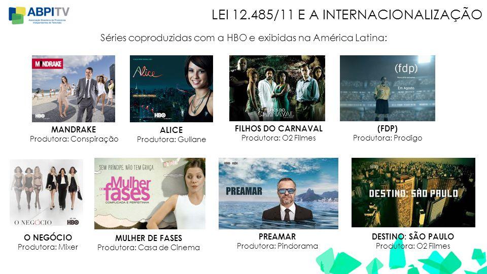 LEI 12.485/11 E A INTERNACIONALIZAÇÃO Séries coproduzidas com a HBO e exibidas na América Latina: MANDRAKE Produtora: Conspiração ALICE Produtora: Gul