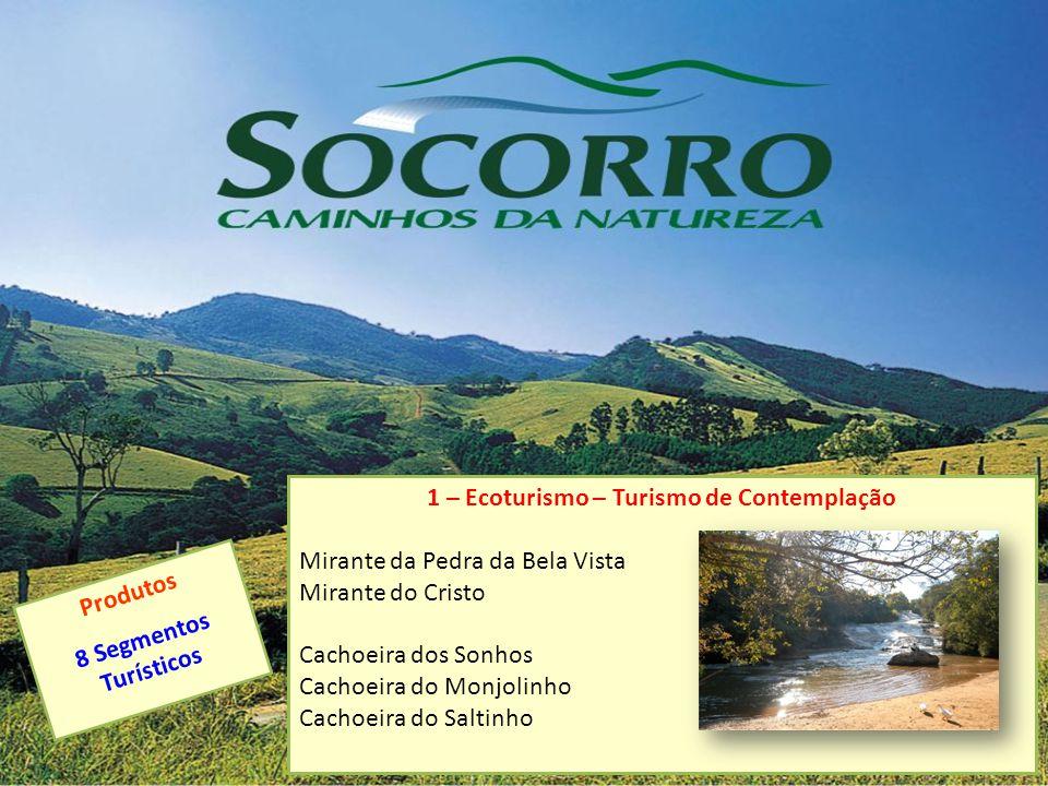 1 – Ecoturismo – Turismo de Contemplação Mirante da Pedra da Bela Vista Mirante do Cristo Cachoeira dos Sonhos Cachoeira do Monjolinho Cachoeira do Sa