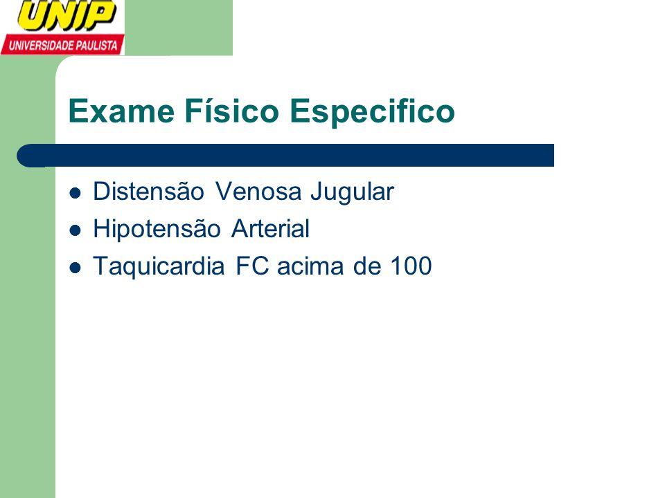 Exame Físico Especifico  Distensão Venosa Jugular  Hipotensão Arterial  Taquicardia FC acima de 100