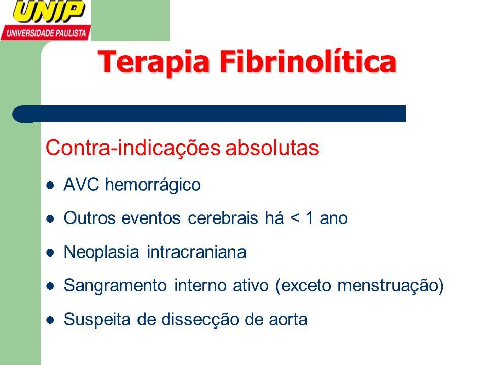 Terapia Fibrinolítica Contra-indicações absolutas  AVC hemorrágico  Outros eventos cerebrais há < 1 ano  Neoplasia intracraniana  Sangramento inte