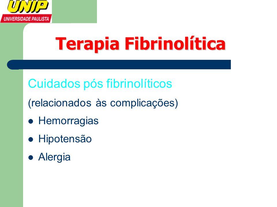 Terapia Fibrinolítica Cuidados pós fibrinolíticos (relacionados às complicações)  Hemorragias  Hipotensão  Alergia