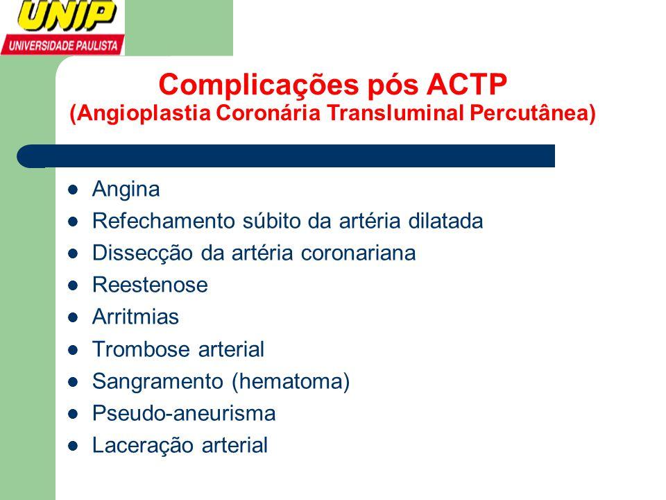 Complicações pós ACTP (Angioplastia Coronária Transluminal Percutânea)  Angina  Refechamento súbito da artéria dilatada  Dissecção da artéria coron