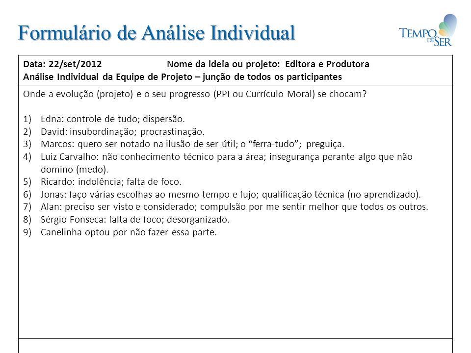 Formulário de Análise do Meio Ambiente das Individualidades: Data: 22/set/2012 Nome da ideia ou projeto: Editora e Produtora Análise ambiental tipo SWOT – podem (e devem) ser usadas outras técnicas.