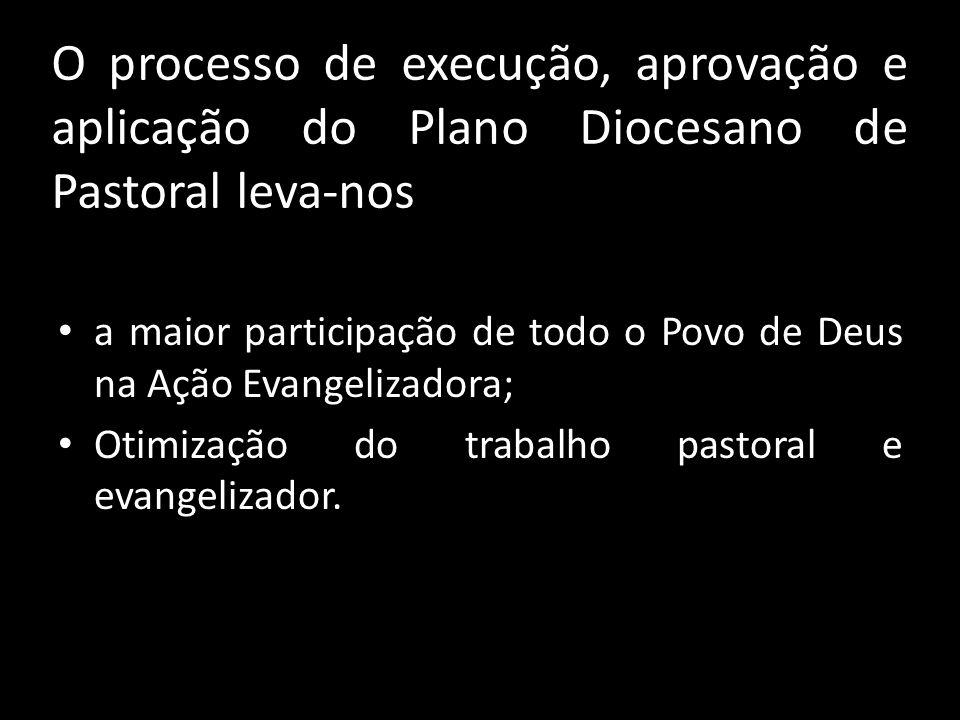 O processo de execução, aprovação e aplicação do Plano Diocesano de Pastoral leva-nos • a maior participação de todo o Povo de Deus na Ação Evangeliza