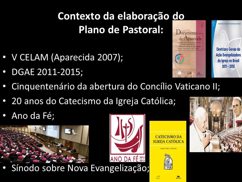 Contexto da elaboração do Plano de Pastoral: • V CELAM (Aparecida 2007); • DGAE 2011-2015; • Cinquentenário da abertura do Concílio Vaticano II; • 20