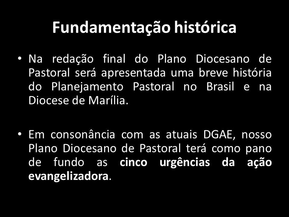 Fundamentação histórica • Na redação final do Plano Diocesano de Pastoral será apresentada uma breve história do Planejamento Pastoral no Brasil e na
