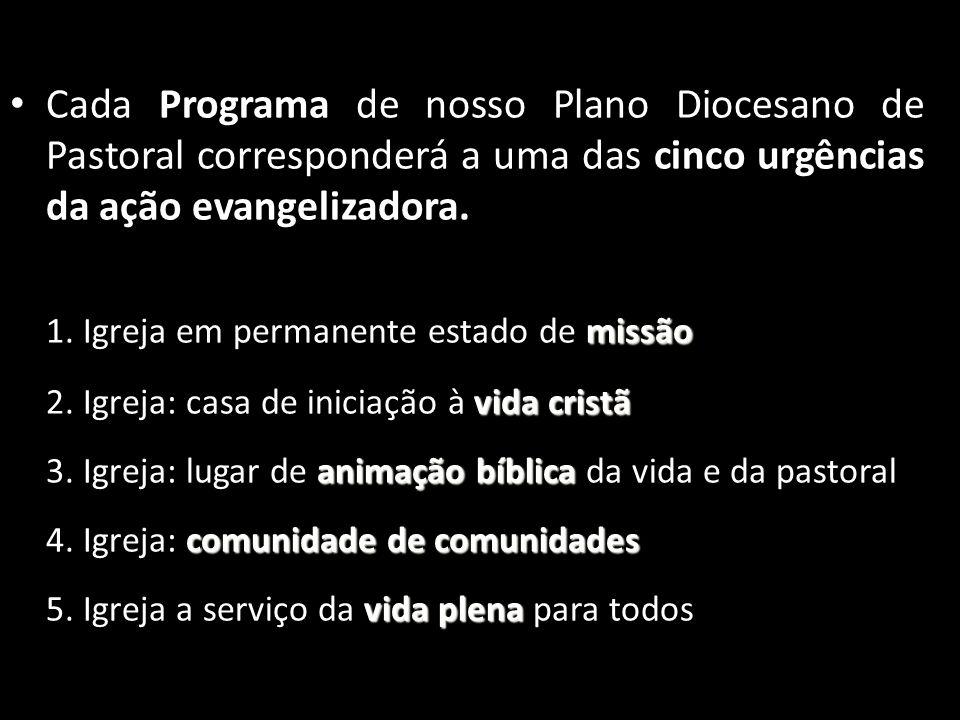 • Cada Programa de nosso Plano Diocesano de Pastoral corresponderá a uma das cinco urgências da ação evangelizadora. missão 1. Igreja em permanente es