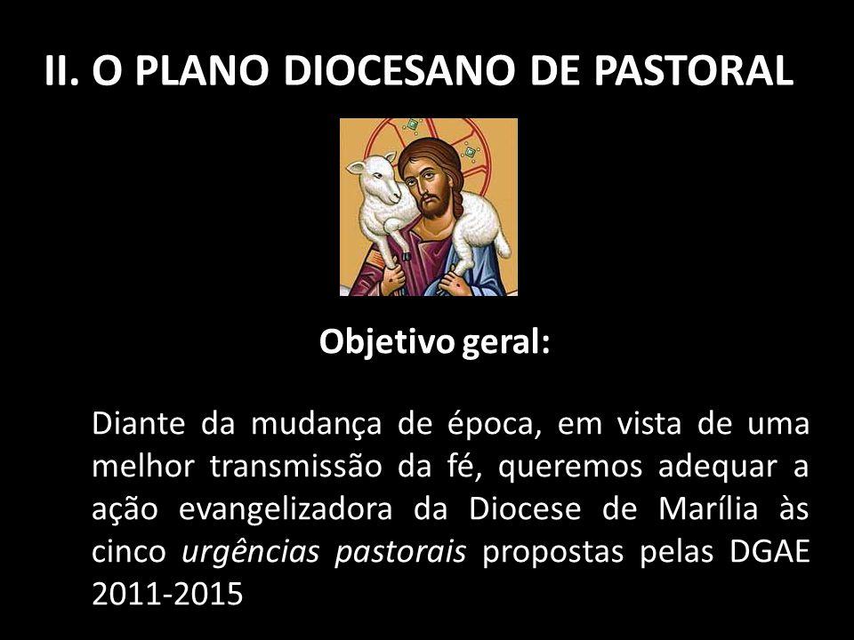 II. O PLANO DIOCESANO DE PASTORAL Objetivo geral: Diante da mudança de época, em vista de uma melhor transmissão da fé, queremos adequar a ação evange