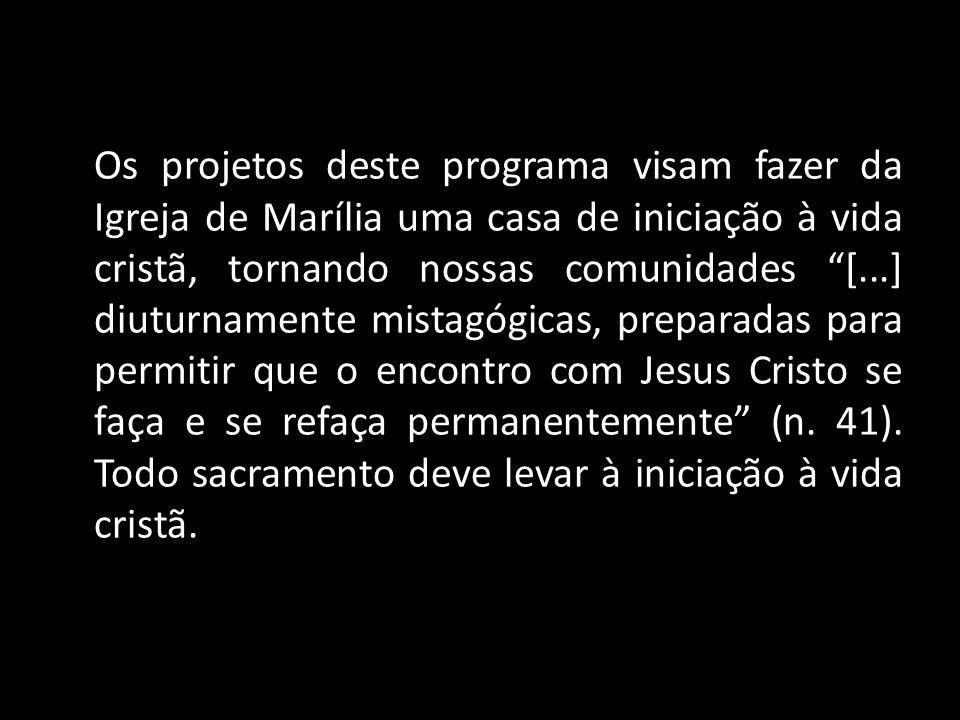 """Os projetos deste programa visam fazer da Igreja de Marília uma casa de iniciação à vida cristã, tornando nossas comunidades """"[...] diuturnamente mist"""