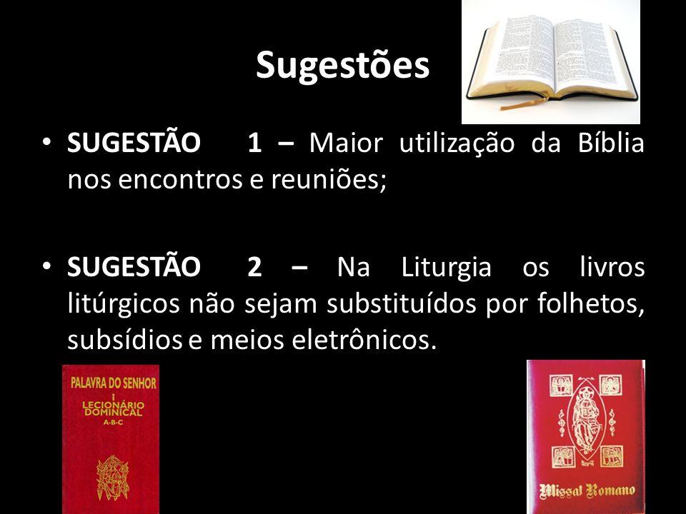 Sugestões • SUGESTÃO 1 – Maior utilização da Bíblia nos encontros e reuniões; • SUGESTÃO 2 – Na Liturgia os livros litúrgicos não sejam substituídos p