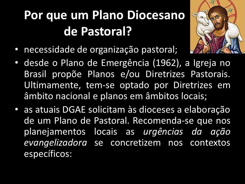 Por que um Plano Diocesano de Pastoral? • necessidade de organização pastoral; • desde o Plano de Emergência (1962), a Igreja no Brasil propõe Planos