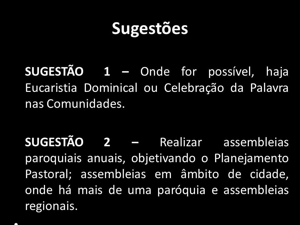 Sugestões SUGESTÃO 1 – Onde for possível, haja Eucaristia Dominical ou Celebração da Palavra nas Comunidades. SUGESTÃO 2 – Realizar assembleias paroqu