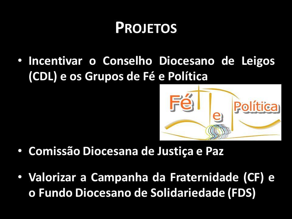 P ROJETOS • Incentivar o Conselho Diocesano de Leigos (CDL) e os Grupos de Fé e Política • Comissão Diocesana de Justiça e Paz • Valorizar a Campanha
