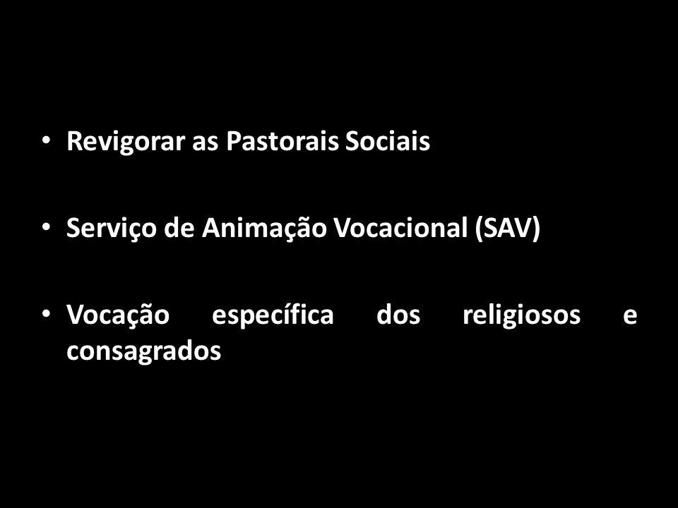 • Revigorar as Pastorais Sociais • Serviço de Animação Vocacional (SAV) • Vocação específica dos religiosos e consagrados