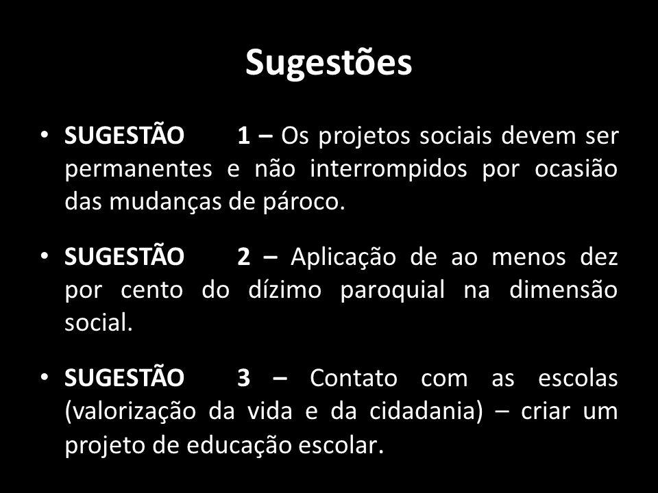 Sugestões • SUGESTÃO 1 – Os projetos sociais devem ser permanentes e não interrompidos por ocasião das mudanças de pároco. • SUGESTÃO 2 – Aplicação de