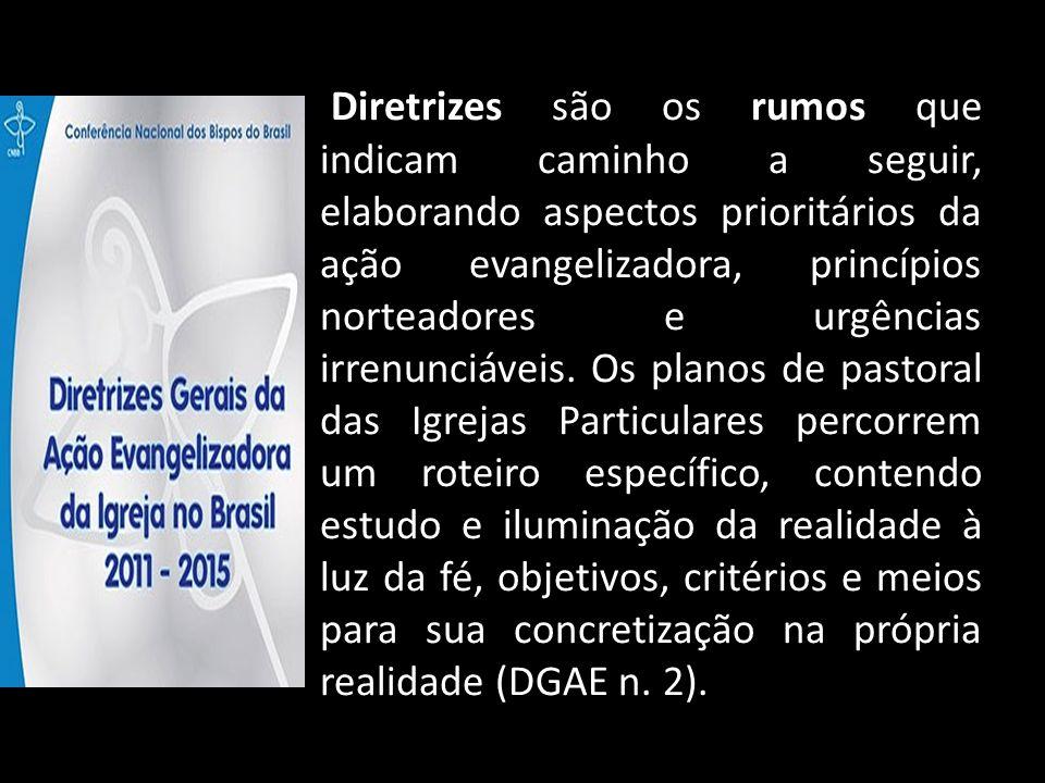 Diretrizes são os rumos que indicam caminho a seguir, elaborando aspectos prioritários da ação evangelizadora, princípios norteadores e urgências irre