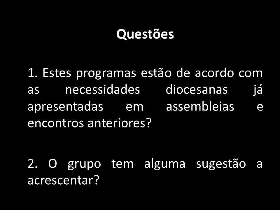 Questões 1. Estes programas estão de acordo com as necessidades diocesanas já apresentadas em assembleias e encontros anteriores? 2. O grupo tem algum