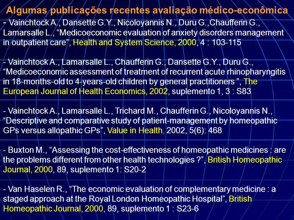 "Algumas publicações recentes avaliação médico-econômica - Vainchtock A., Dansette G.Y., Nicoloyannis N., Duru G.,Chaufferin G., Lamarsalle L., ""Medico"