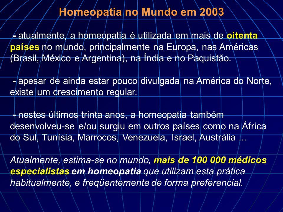 Homeopatia no Mundo em 2003 - atualmente, a homeopatia é utilizada em mais de oitenta países no mundo, principalmente na Europa, nas Américas (Brasil,